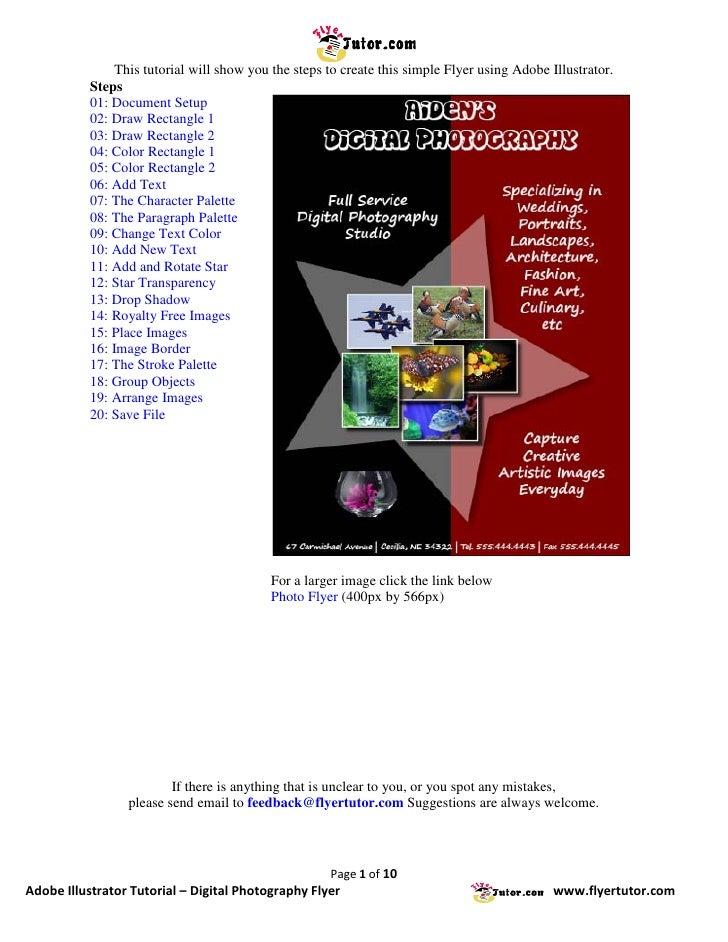 Adobe illustrator tutorials digital photography flyer for Adobe illustrator flyer template
