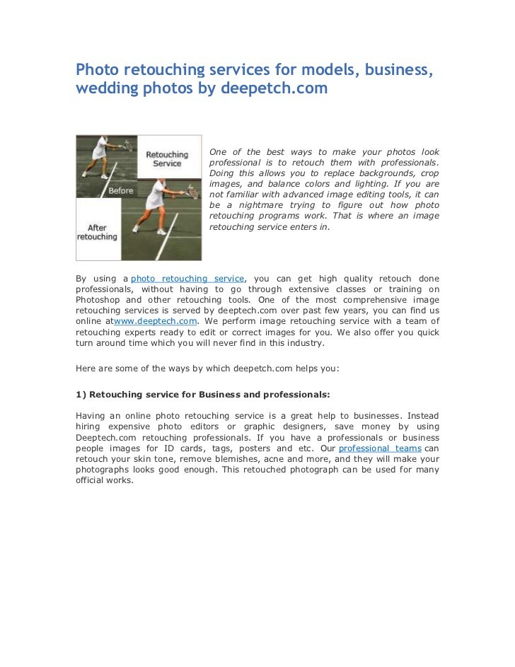 Photo retouching services for models business wedding photos by deepetch.com