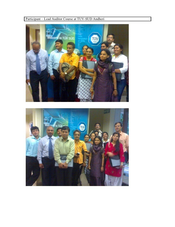 Participant – Lead Auditor Course at TUV-SUD Andheri