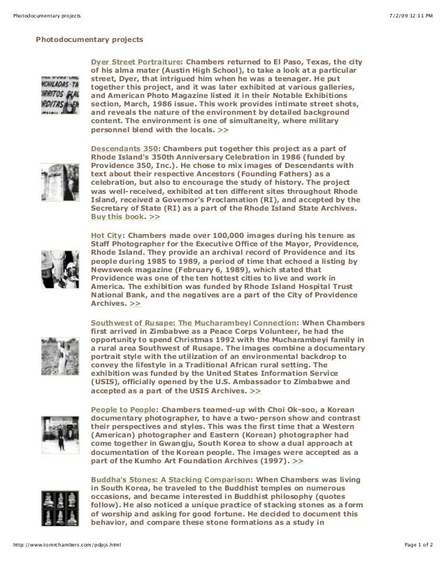 7/2/09 12:11 PMPhotodocumentary projects Page 1 of 2http://www.tomrchambers.com/pdpjs.html Photodocumentary projects Dyer ...