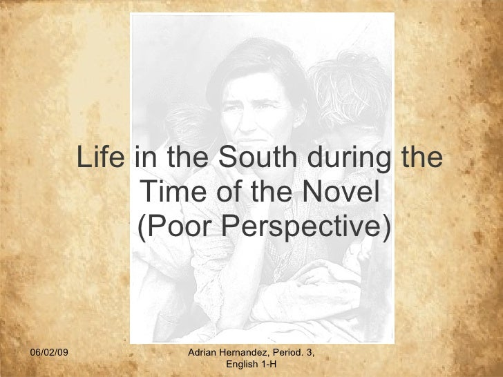 Life in the South during the Time of the Novel  (Poor Perspective) 06/10/09 Adrian Hernandez, Period. 3, English 1-H