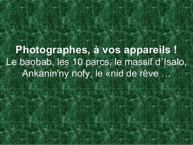 Photographes, à vos appareils !Le baobab, les 10 parcs, le massif d´Isalo,Ankaninny nofy, le «nid de rêve …
