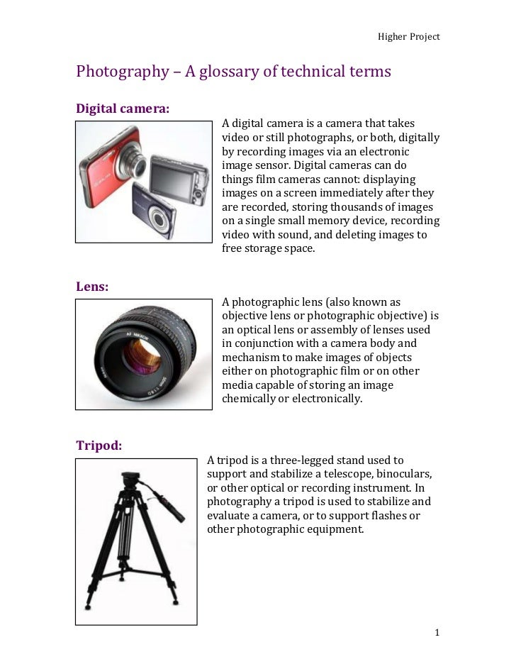 Photography – A glossary of technical terms<br />Digital camera:<br />080645A digital camera is a camera that takes video ...