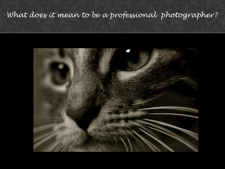 What does it mean to be a professional  photographer? <br />