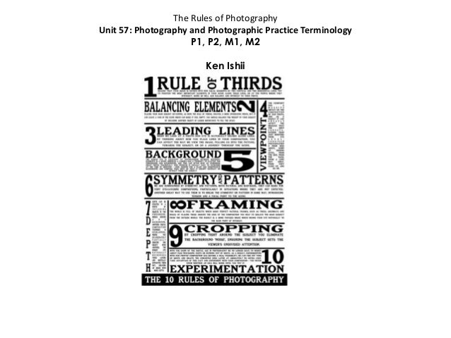 The Rules of Photography Unit 57: Photography and Photographic Practice Terminology P1, P2, M1, M2 Ken Ishii