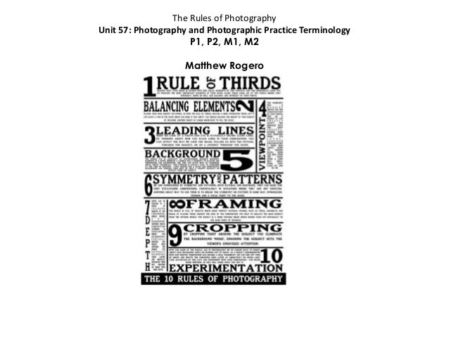 The Rules of Photography Unit 57: Photography and Photographic Practice Terminology P1, P2, M1, M2 Matthew Rogero