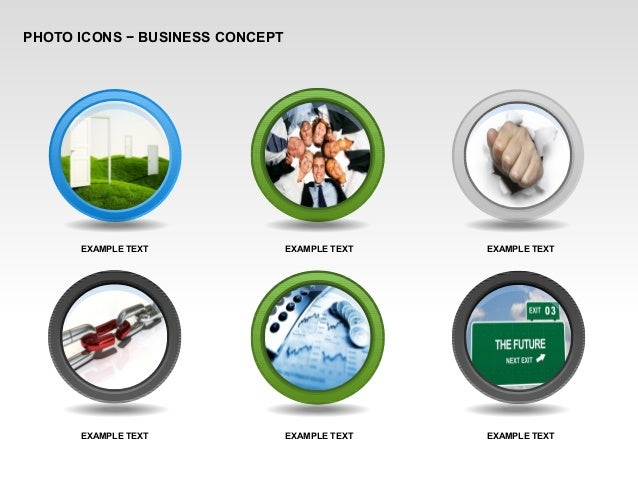 PHOTO ICONS − BUSINESS CONCEPT EXAMPLE TEXT EXAMPLE TEXT EXAMPLE TEXT EXAMPLE TEXT EXAMPLE TEXT EXAMPLE TEXT