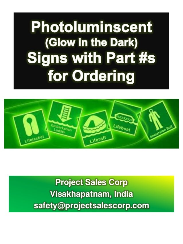 Photoluminscent Signs from Project Sales Corp - Ordering Codes