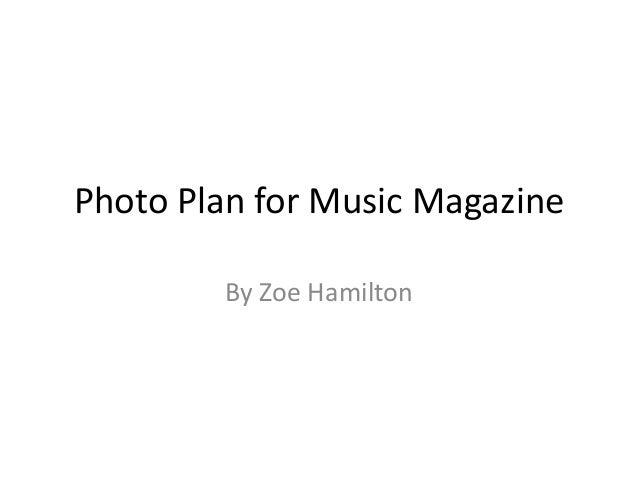 Photo Plan for Music Magazine By Zoe Hamilton