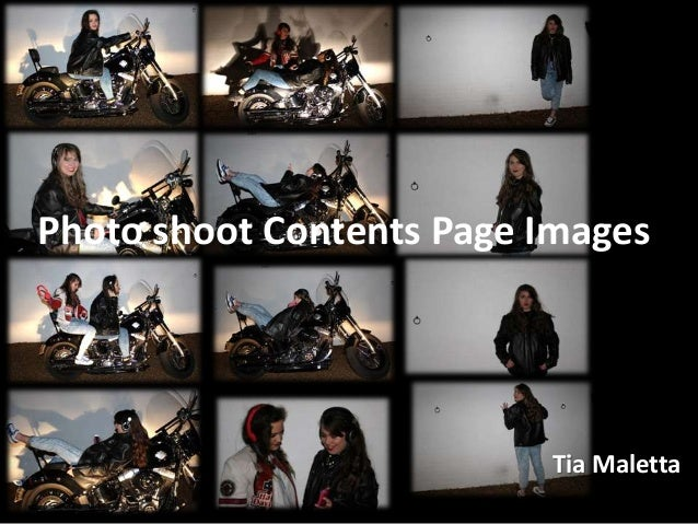 Photoshoot contents page images