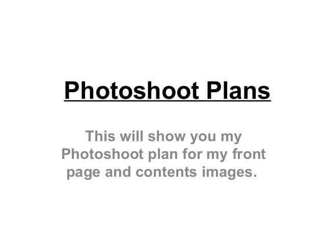 Photoshoot plans