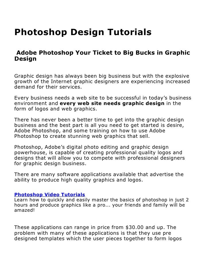 Photoshop design tutorials - Adobe Photoshop - Your Ticket to Big Bucks in Graphic Design
