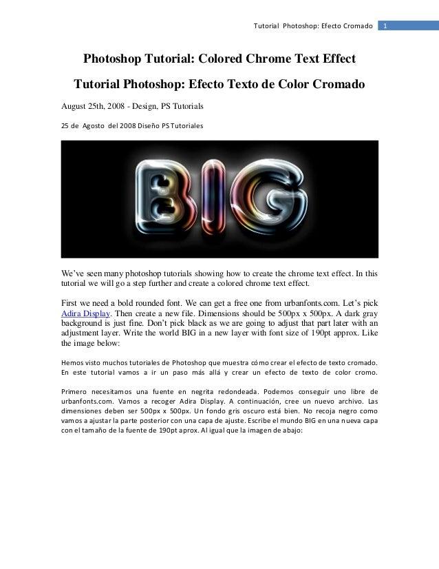 Tutorial Photoshop: Efecto Cromado  Photoshop Tutorial: Colored Chrome Text Effect Tutorial Photoshop: Efecto Texto de Col...