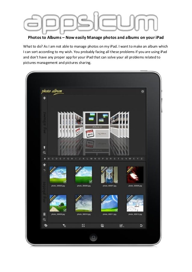 Photos to Albums – Now easily Manage photos and albums on your iPad