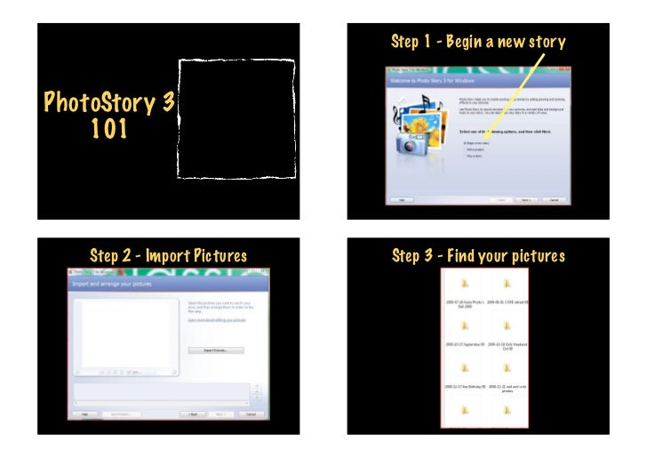 Step 1 - Begin a new storyPhotoStory 3    101    Step 2 - Import Pictures   Step 3 - Find your pictures