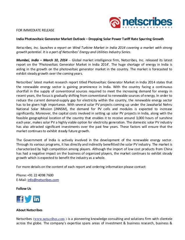 Photovoltaic generator market in india 2014 - Press release