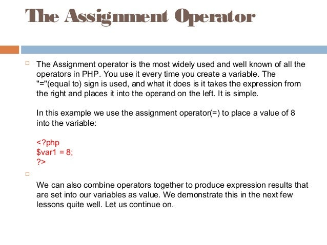 Php assignment operator