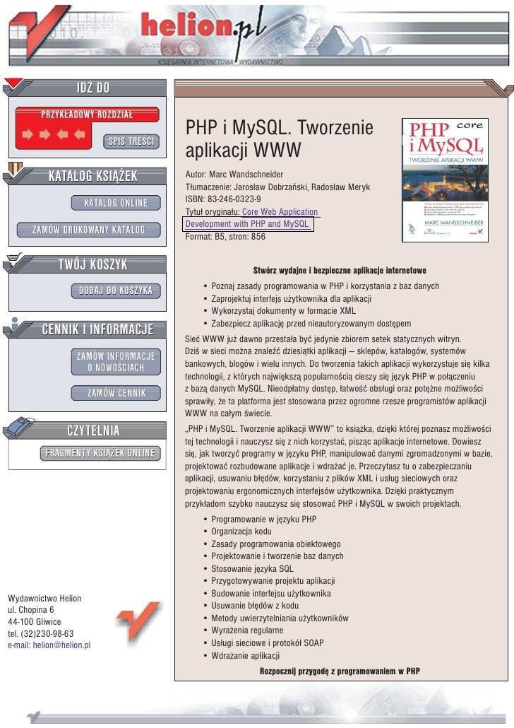 IDZ DO          PRZYK£ADOWY ROZDZIA£                             SPIS TREŒCI                                          PHP ...