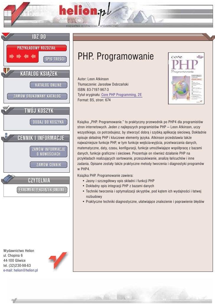 IDZ DO          PRZYK£ADOWY ROZDZIA£                             SPIS TRE CI   PHP. Programowanie            KATALOG KSI¥¯...