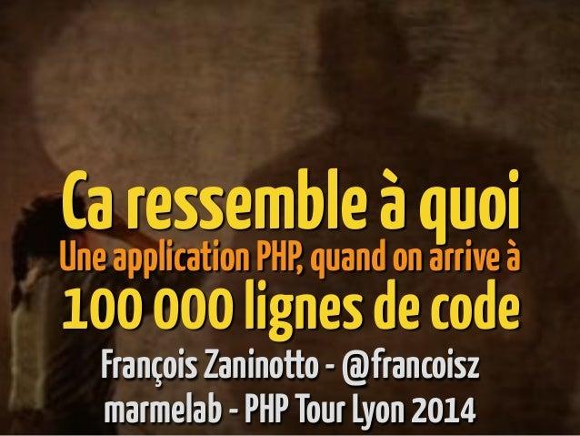 Caressembleàquoi FrançoisZaninotto-@francoisz UneapplicationPHP,quandonarriveà 100000lignesdecode marmelab-PHPTourLyon2014