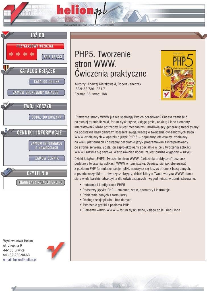 IDZ DO          PRZYK£ADOWY ROZDZIA£                             SPIS TRE CI   PHP5. Tworzenie                            ...