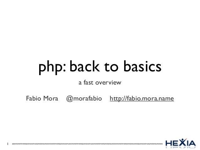 php: back to basicsa fast overviewFabio Mora @morafabio http://fabio.mora.name1