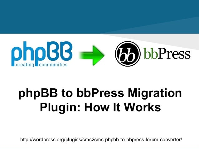 phpBB to bbPress Migration Plugin: How It Works http://wordpress.org/plugins/cms2cms-phpbb-to-bbpress-forum-converter/