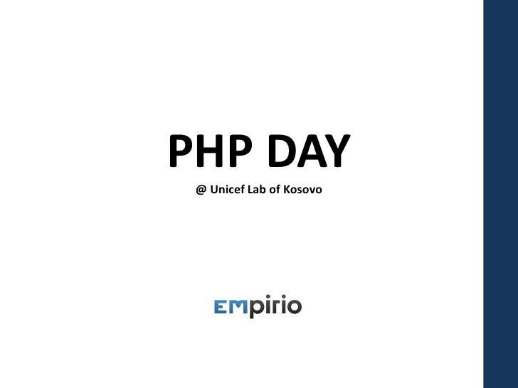 PHP Day at UNICEF Lab of Kosova