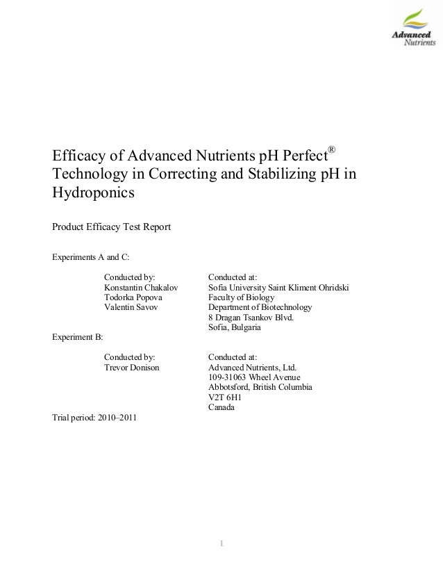 Efficacy of Advanced Nutrients pH Perfect® Technology in Correcting and Stabilizing pH in Hydroponics