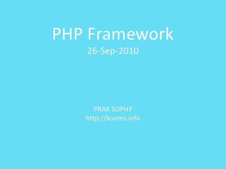 Php framework at BarCampPP