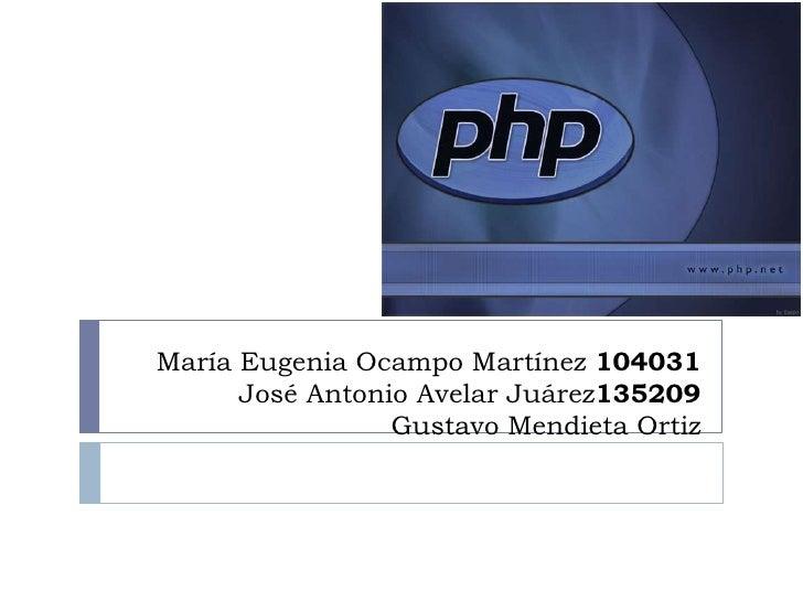 María Eugenia Ocampo Martínez 104031José Antonio Avelar Juárez135209Gustavo Mendieta Ortiz<br />