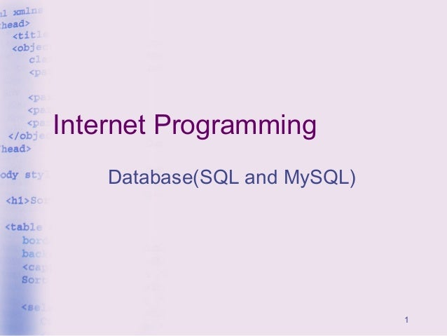 1 Internet Programming Database(SQL and MySQL)