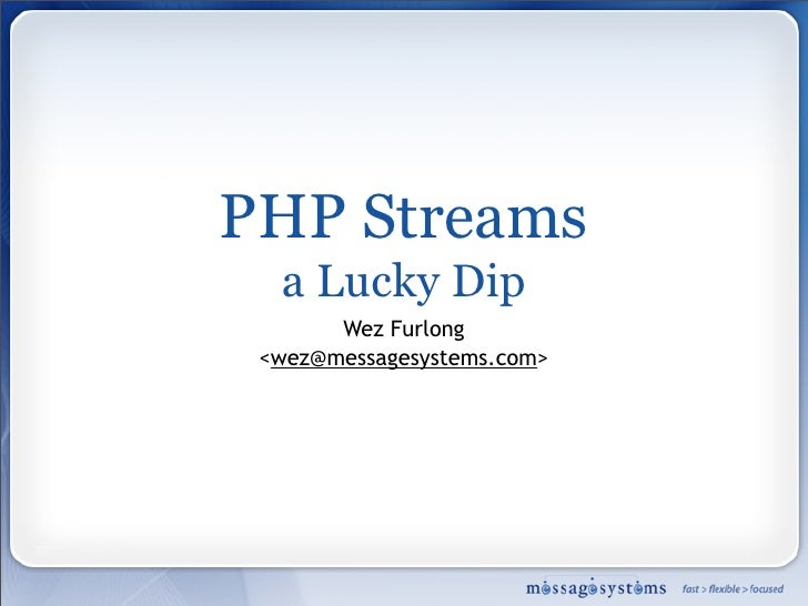 PHP Streams: Lucky Dip