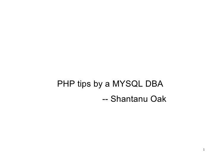 PHP tips by a MYSQL DBA