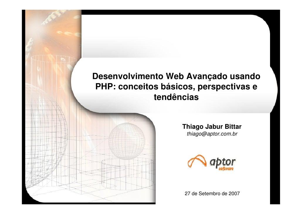Desenvolvimento Web Avançado usando PHP