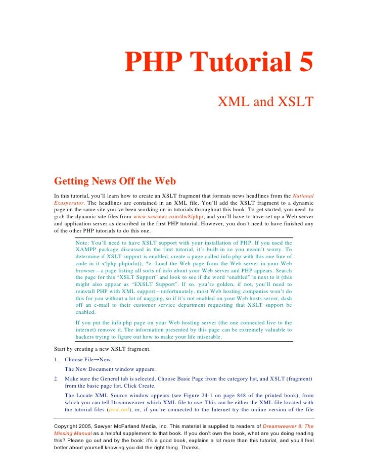 PHP Tutorial 5                                                                      XML and XSLT     Getting News Off the ...