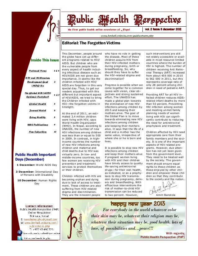 Public Health Perspective (PHP) Newsletter December  2012 Issue