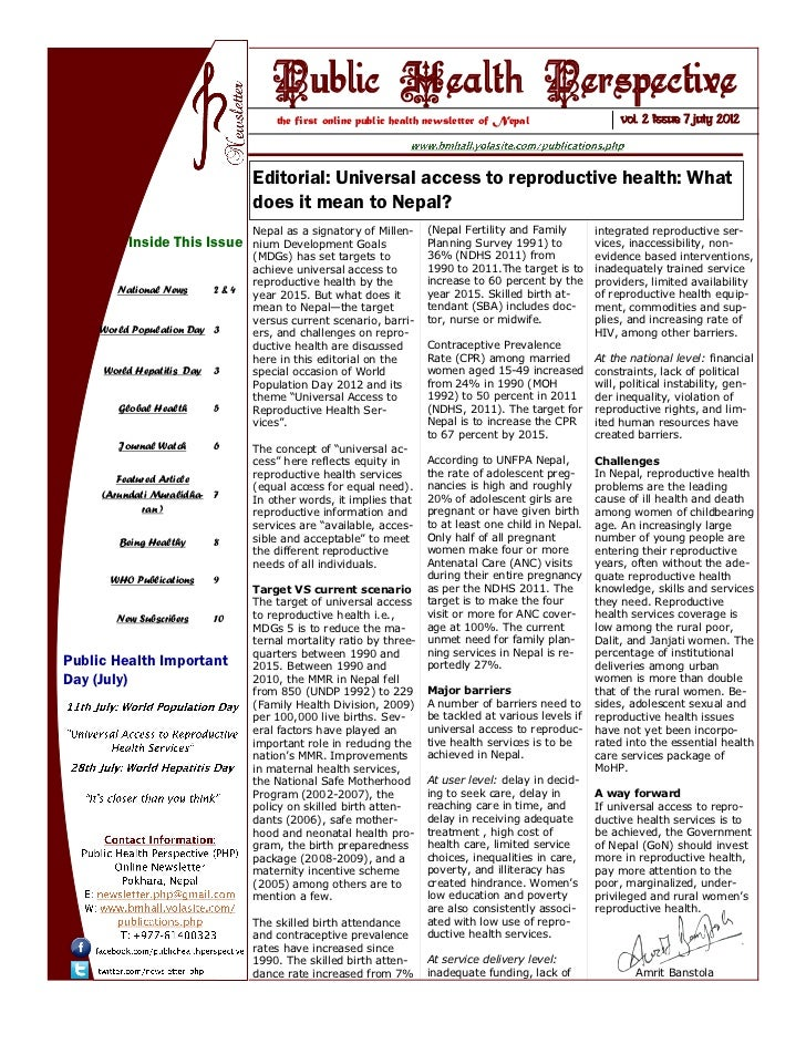 Public Health Perspective (PHP) Newsletter July 2012 Issue