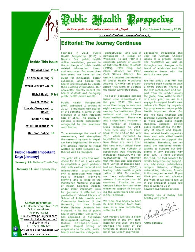 Public Health Perspective (PHP) Newsletter January  2013 Issue