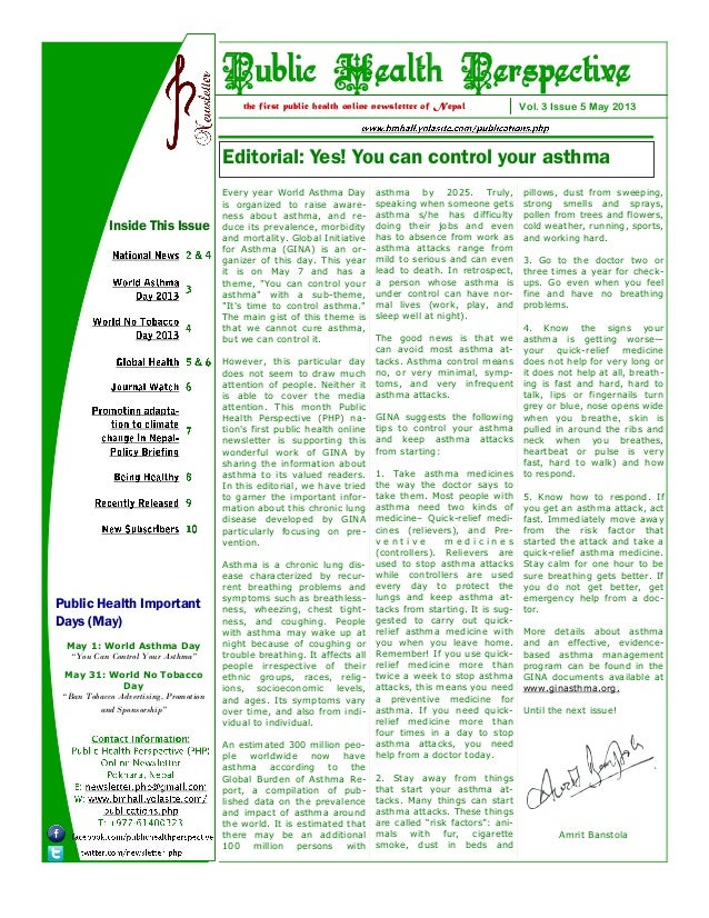 Editorial: Yes! You can control your asthma Vol. 3 Issue 5 May 2013the first public health online newsletter of Nepal Publ...