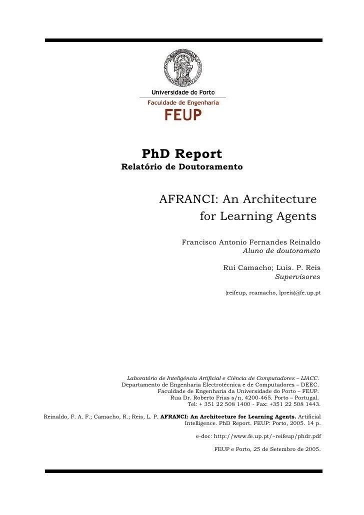 PhD Report                             Relatório de Doutoramento                                             AFRANCI: An A...
