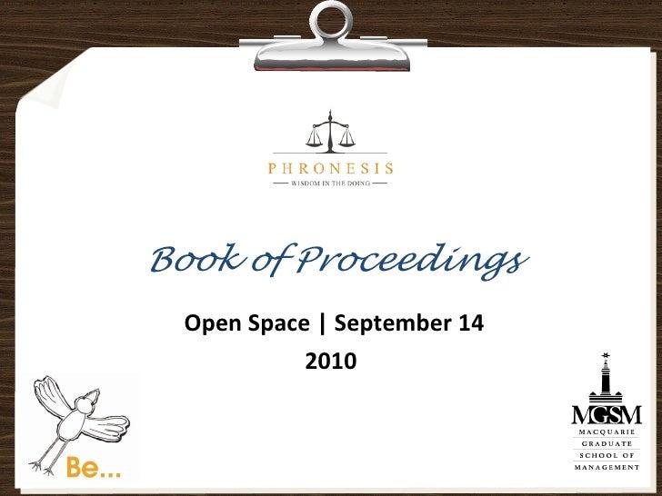 Book of Proceedings   Open Space | September 14             2010