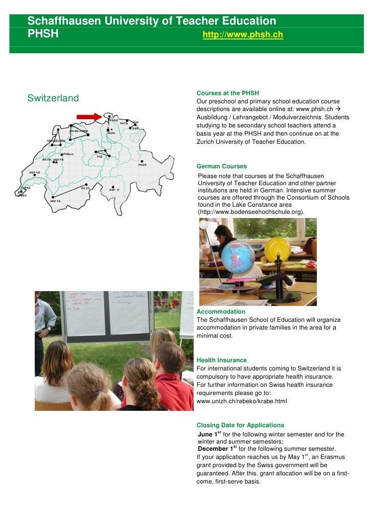 Schaffhausen University of Teacher Education         PHSH                           http://www.phsh.ch                    ...