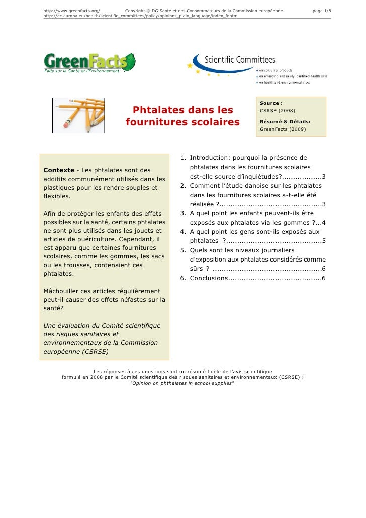 Phtalates dans les fournitures scolaires