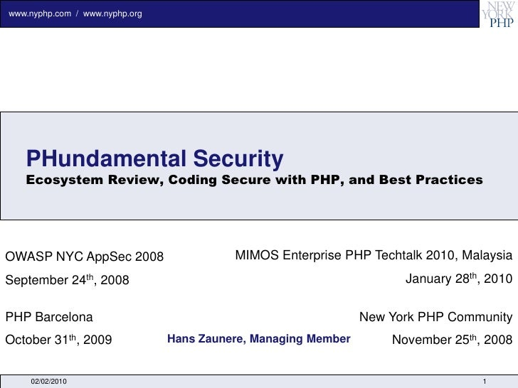 P Hundamental Security Coding Secure With Php Lamp