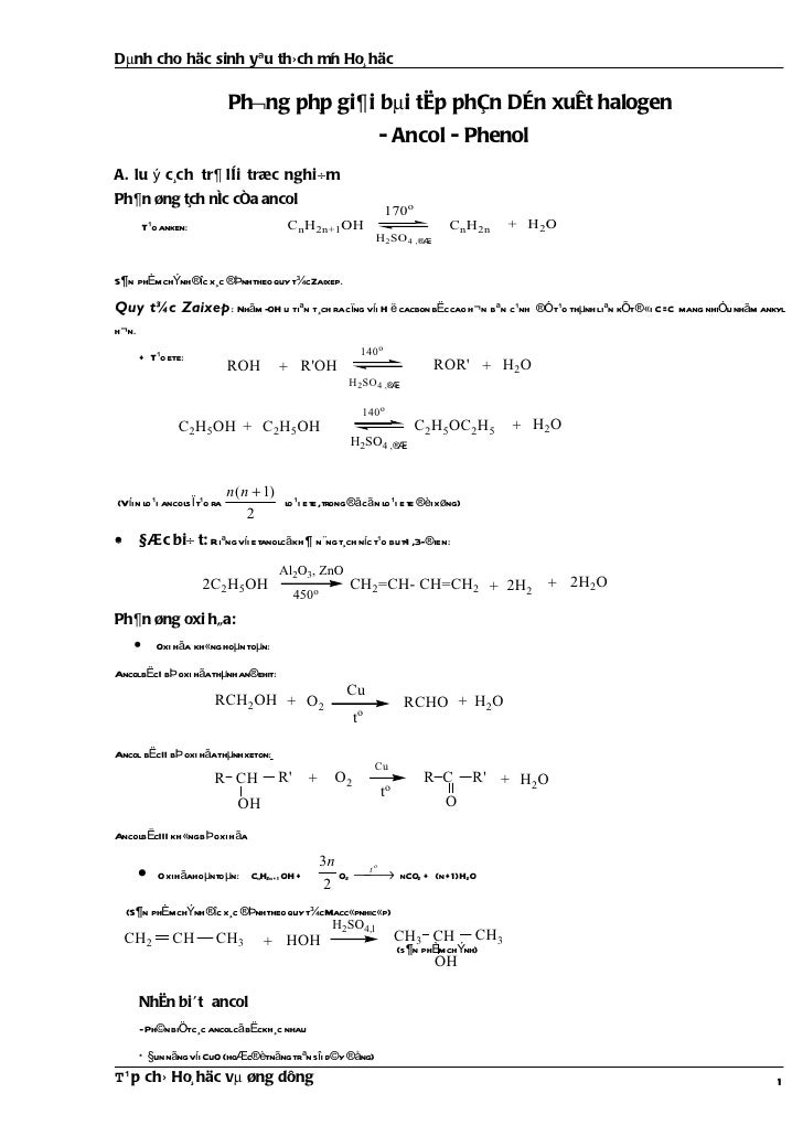 Phuong phap giai bai tap chuong dan xuat halogen  ancol phenol