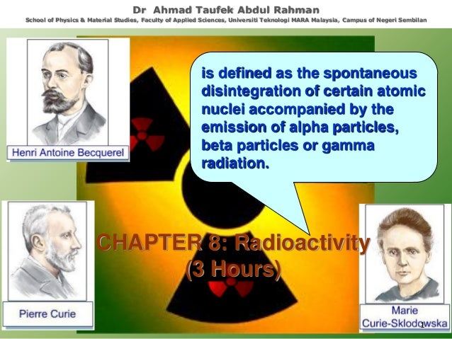 is defined as the spontaneous disintegration of certain atomic nuclei accompanied by the emission of alpha particles, beta...