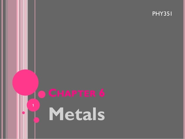 PHY351  CHAPTER 6 1  Metals