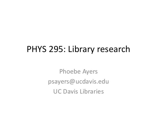 Library research in physics: tips for new researchers