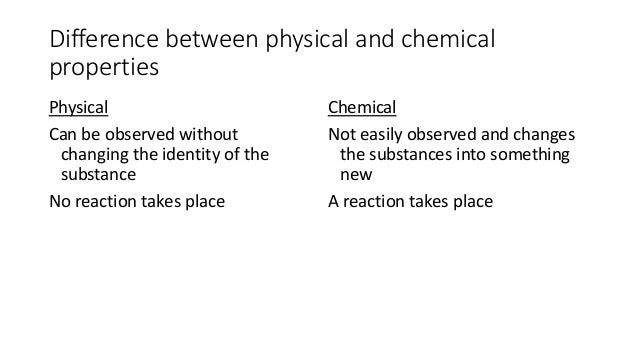 Difference Between Chemical And Physical Properties Of Matter